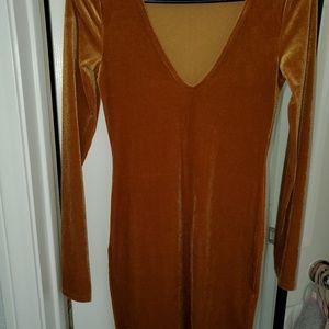 Gold velour dress